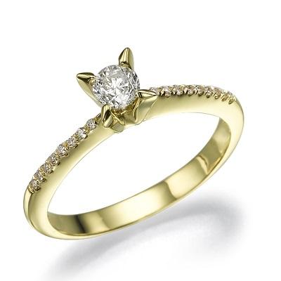 טבעת אירוסין זהב צהוב - Modern X