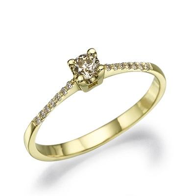 טבעת אירוסין זהב צהוב - Alma