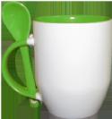ספל ירוק עם כפית