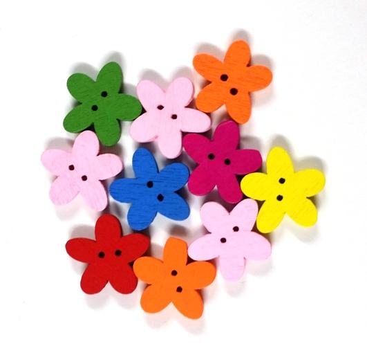 כפתורים מעץ-פרחים