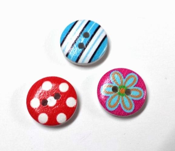 כפתורים מעץ-עגולים(מצוירים)