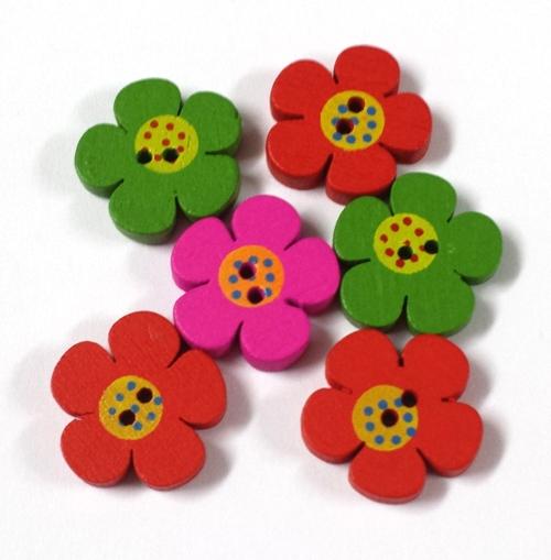 כפתורים מעץ-פרח גדול