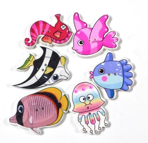 כפתורים מעץ-דגים