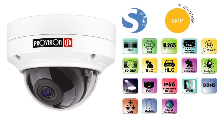 מצלמת כיפה חיצונית IP 8MP