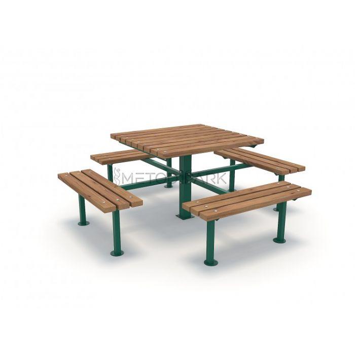 METOD 03PM מיטוד שולחן פיקניק מרובע כולל 4 ספסלים