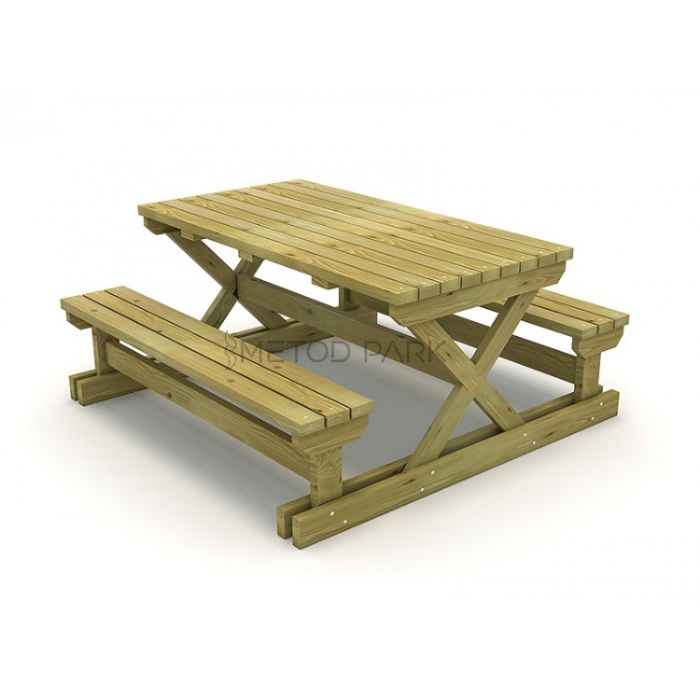 METOD 01PM שולחן פיקניק מעץ רגליים רחבות