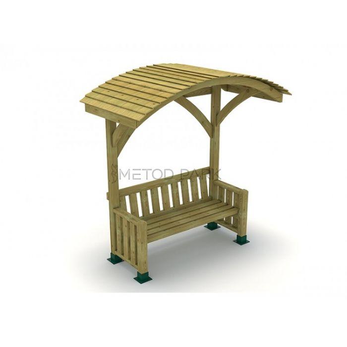 METOD 14B ספסל כולל גגון עץ