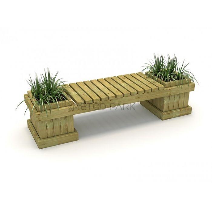 METOD 15B ספסל עץ עם 2 אדניות עץ