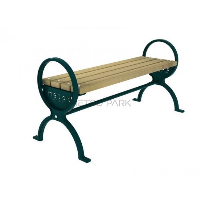 METOD 12B ספסל עץ בלי גב רגלים יצוק