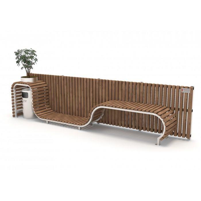 METOD 46B ספסל עץ ארוך עם גב+עציץ 3 מטר