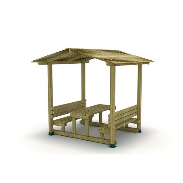 METOD 13 PM-שולחן פיקניק עם גגון עץ
