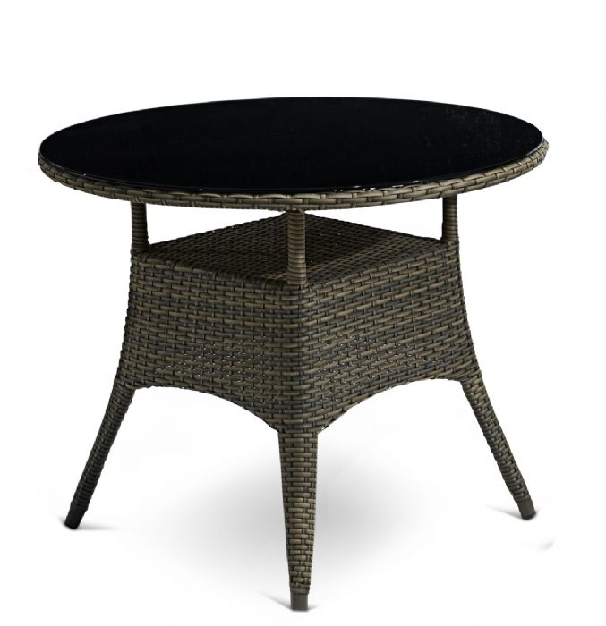 "שולחן עגול זכוכית וראטן דגם ""גארדן"" BZ"