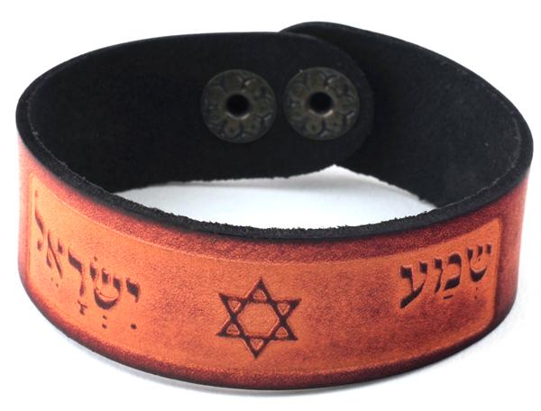 צמיד עור | שמע ישראל ומגן דוד