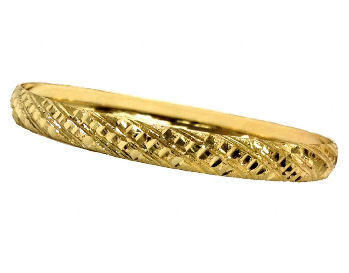 צמיד זהב 14K משולב בחריטת יהלום אלכסונים על רקע נצנץ (2004)