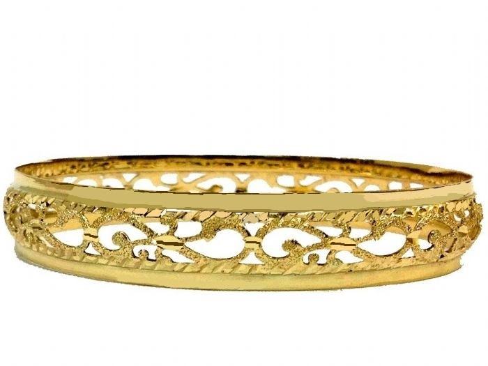 צמיד זהב 14K שמיניות מרוקאי משולב חריטת יהלום עם נצנץ וקנטים חלק בצדדים (2060)