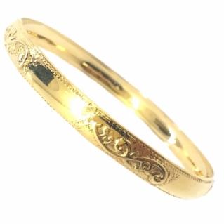 צמיד זהב 14K מקוטע חלק ומשולב חריטה מרוקאית אומנותית (2080)