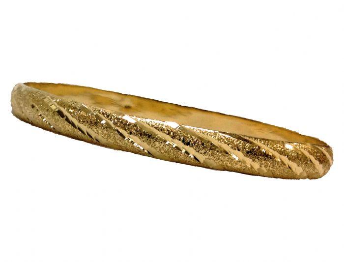 צמיד זהב 14K עם חריטת יהלום אלכסוניים משולב עם נצנץ בעבודת יד (2003)