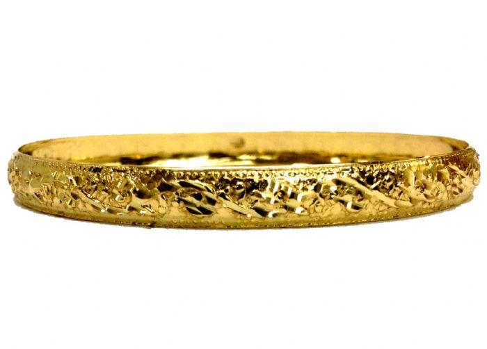 צמיד זהב 14K ממולא בחריטה אומנותית מוטבעת חזק הכל בעבודת יד (2082)