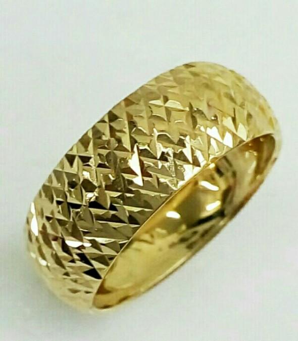 טבעת נישואין זהב 14K מקומר עם חריטת יהלום (4005)