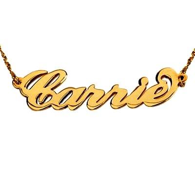 שרשרת שם זהב צהוב 14K באנגלית סטייל CARRIE חלק מבריק
