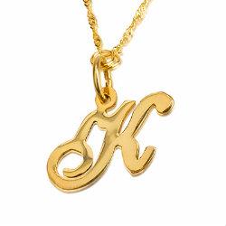 תליון חלק מבריק אות גדולה באנגלית זהב צהוב/לבן 14K ושרשרת זהב