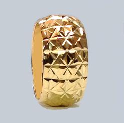 טבעת נישואין זהב 14K ממולאת כוכבים בחריטת יהלום (4065)
