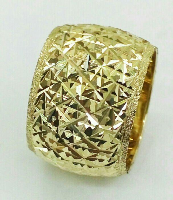 טבעת נישואין זהב 14K כוכבים בלגן ומילוי נצנץ בצדדים (4095)