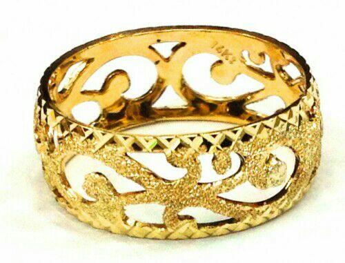 טבעת זהב 14K מרוקאית שמיניות בעבודת יד מקצועית
