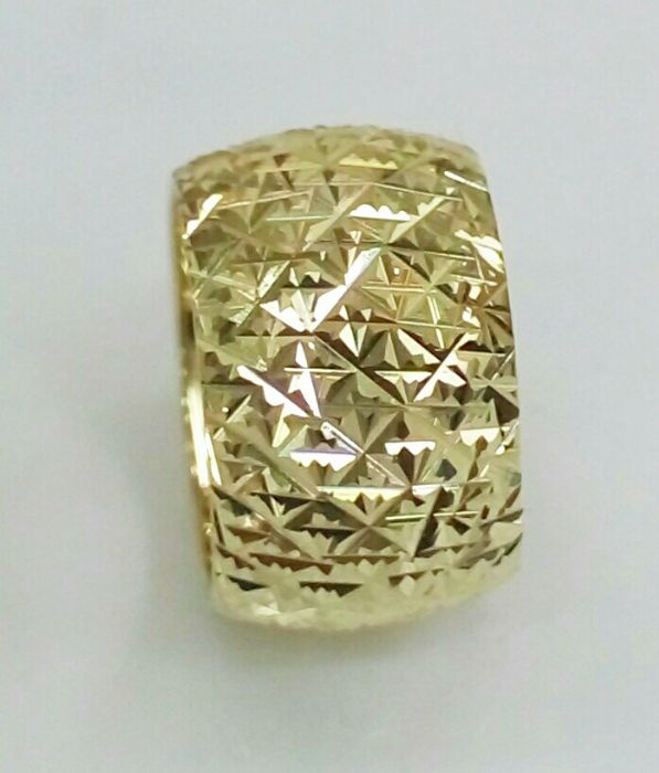 """טבעת נישואין רוחב 12 מ""""מ, חריטה בחיתוך יהלום, טבעת זהב נוצצת (4096)"""