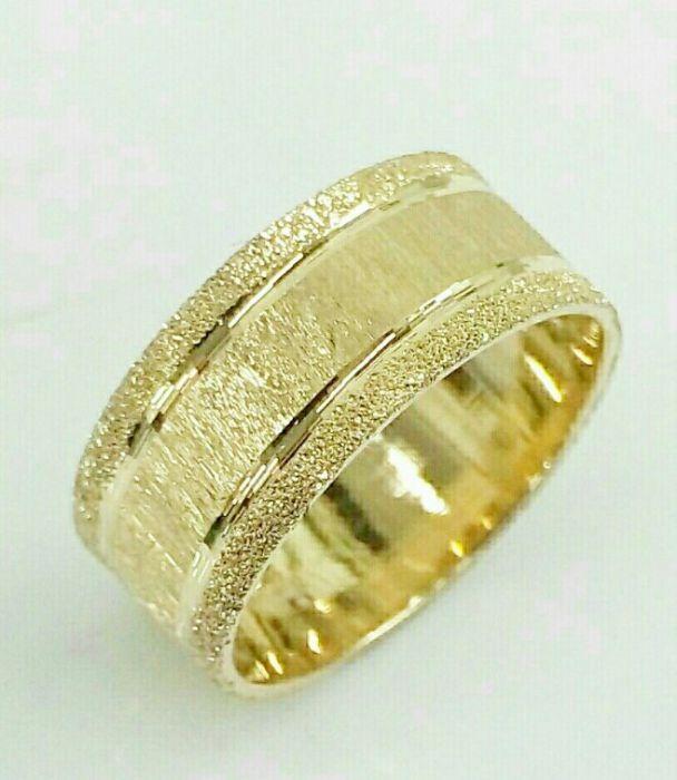 """טבעת נישואין זהב עם חריטה ברוחב 7 מ""""מ (4445)"""