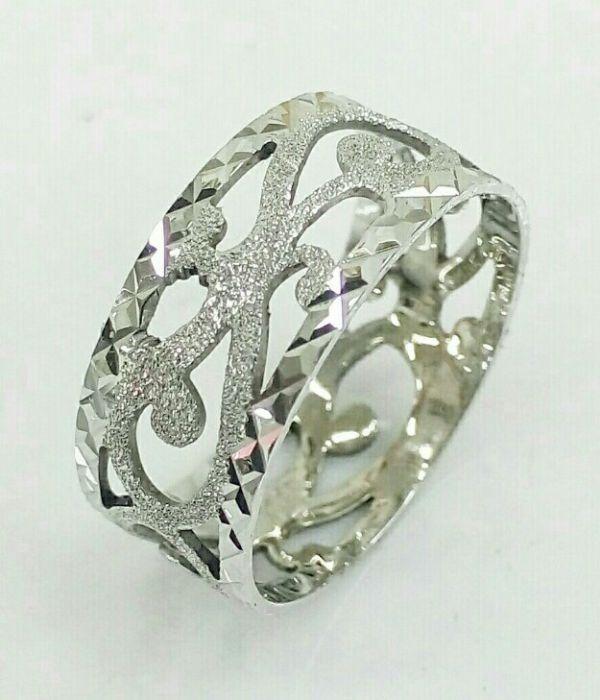 טבעת שטוחה בזהב לבן מרוקאית תחרה בעבודת יד מקצועית (2401)