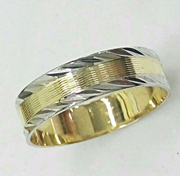 טבעת זהב לגבר צהוב ולבן (4460)