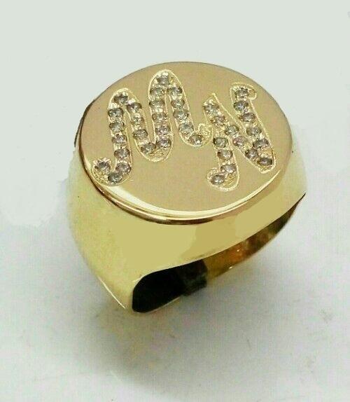 טבעת זהב חותם עם אותיות בשיבוץ אבני סברובסקי משובצים (4309)
