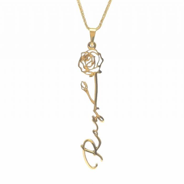 שרשרת ותליון זהב בעיצוב פרח עם שם בעיצוב אישי