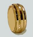 טבעת נישואין זהב 14K מקומר חריטת נצנץ ומכות יהלום (4010)