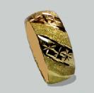 טבעת נישואין זהב 14K מקומר כוכבים עם נצנץ משולב (4015)