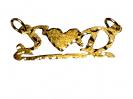 תליון עם חריטה שתי אותיות באנגלית צמודות ללב זהב ושרשרת זהב 14K