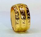 טבעת נישואין זהב 14K עם כוכבים בחריטת יהלום ושורות של נצנץ (4030)