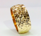 טבעת נישואין זהב 14K עם כוכבים בלגן (4055)