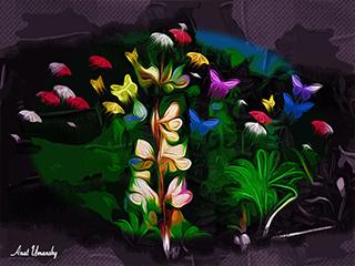 פרח פרפרים - הדפס על קנבס