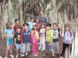 קבוצת ילדים שעורכת ביער בראשית פעילות של ילדים מבית ספר לטובת חיזוק בקשרים הבין אישיים והגיבוש