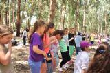ילדים משתתפים ביום כיף אתגרי ביער בראשית, תחרויות בין צוותים לילדים ולהורים