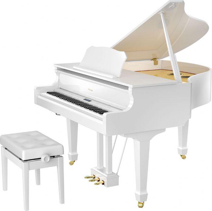 פסנתר כנף חשמלי ROLAND GP609PW בצבע לבן מבריק