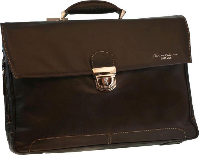 תיק מנהלים מעור בפאלו עם מתלה למזוודת טרולי דגם 821 אולד אנגלר חום כהה