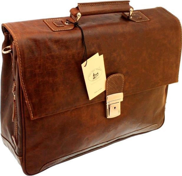 תיק מנהלים מעור בפאלו עם מתלה למזוודת טרולי דגם 821 אולד אנגלר חום בהיר