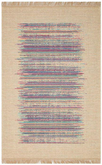 שטיח דמוי חבל טבעי דוגמא צבעונית - BRK 02 NATURAL MULTY