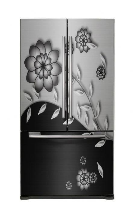 דלת פרחים שחור לבן