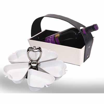 BA0014 - מארז יין גדול+סט הגשה פורצלן