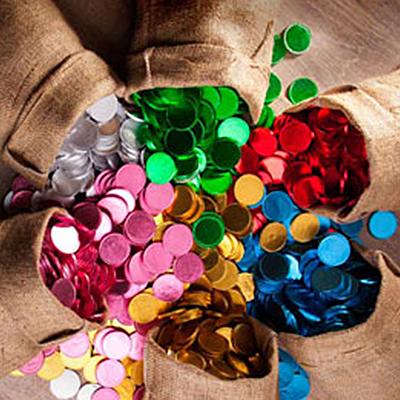מטבעות שוקולד בעטיפה צבעונית