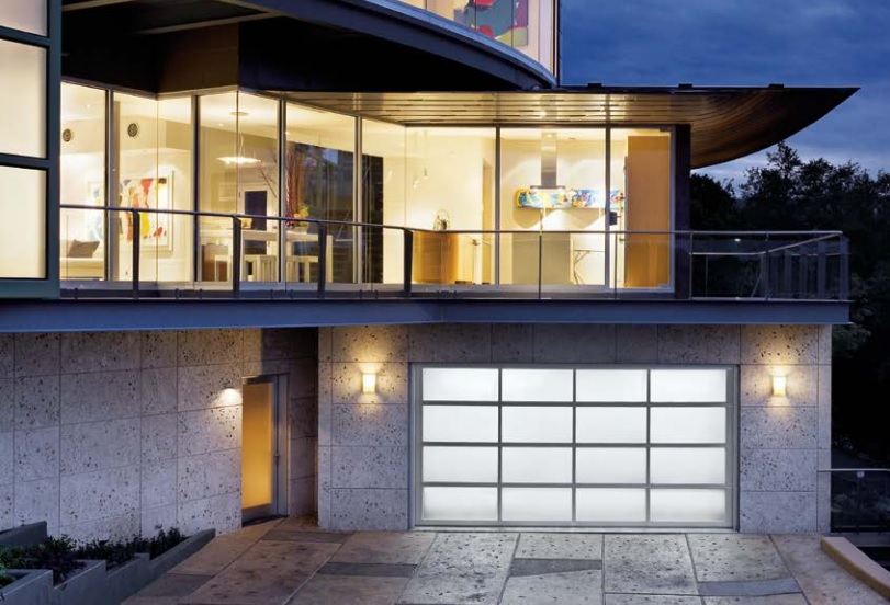 glass aluminum garage door for a great curb appeal